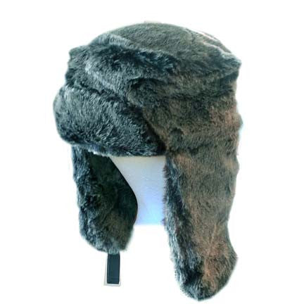 Youth/Adult Black/Grey Faux Fur Trapper Hat