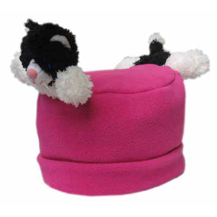 Black & White Cat on Fuschia Fleece Buddy Hat