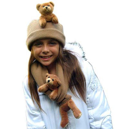 Brown Bear on Camel Fleece Buddy Hat & Scarf