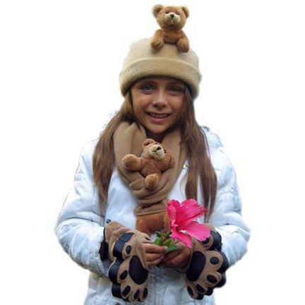 Brown Bear on Camel Fleece Buddy Hat, Scarf & Mittens