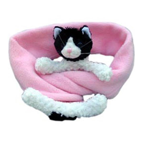 Black & White Cat on Pink Fleece Buddy Scarf