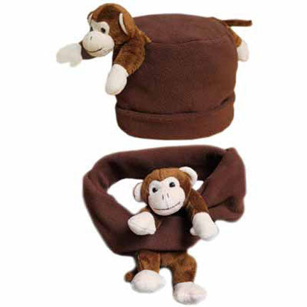 Cheeky Monkey on Brown Fleece Buddy Hat & Scarf