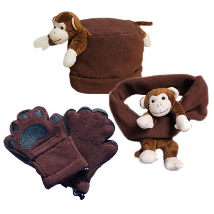 Cheeky Monkey on Brown Fleece Buddy Hat, Scarf & Mittens