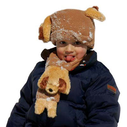 Floppy Ear Dog on Camel Fleece Buddy Hat & Scarf