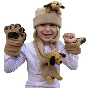 Floppy Ear Dog on Camel Fleece Buddy Hat, Scarf & Mittens