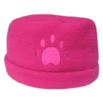 Fuchsia Paw Print Fleece Hat