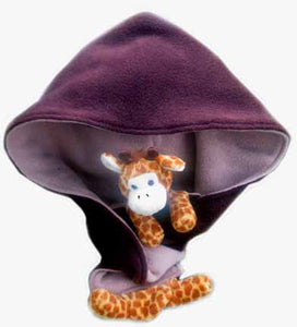 Giraffe on Brown/Camel Fleece Hoodie Scarf