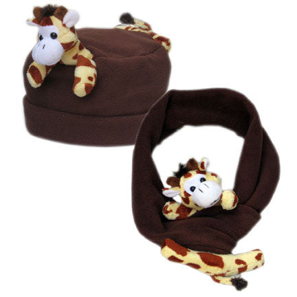 Giraffe on Brown Fleece Buddy Hat & Scarf