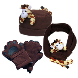 Giraffe on Brown Fleece Buddy Hat, Scarf & Mittens