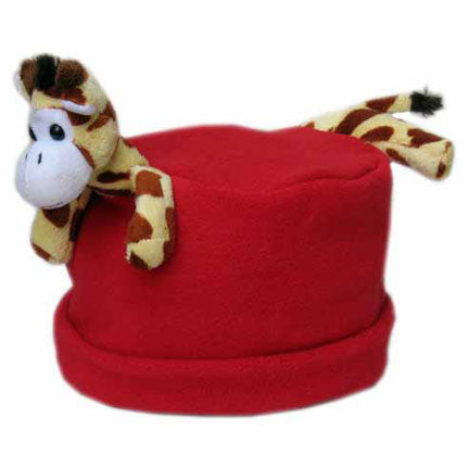 Giraffe on Red Fleece Buddy Hat