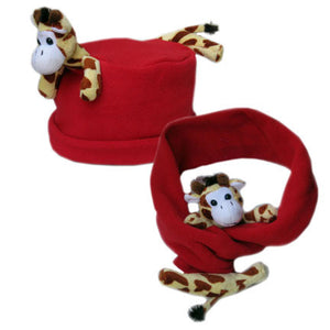 Giraffe on Red Fleece Buddy Hat & Scarf