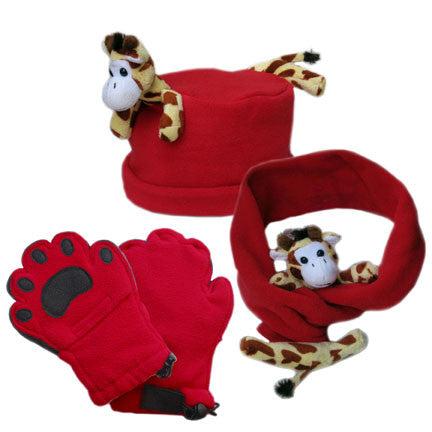 Giraffe on Red Fleece Buddy Hat, Scarf & Mittens