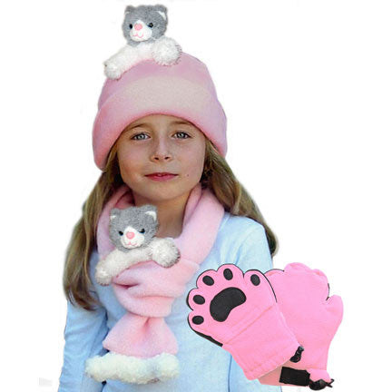 Grey & White Cat on Pink Fleece Buddy Hat, Scarf & Mittens