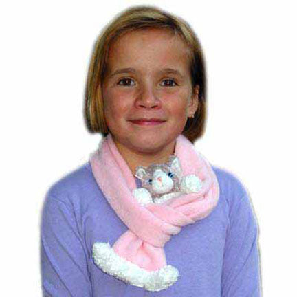 Grey & White Cat on Pink Fleece Buddy Scarf