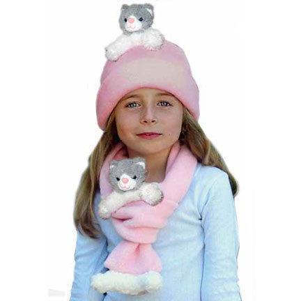Grey & White Cat on Pink Fleece Buddy Hat & Scarf