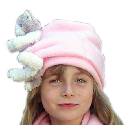 Grey & White Cat on Pink Fleece Tied Style Buddy Hat