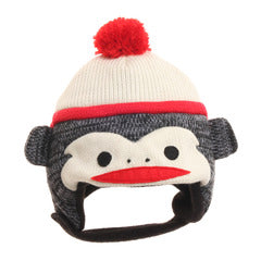 Infant Grey Sock Monkey Hat