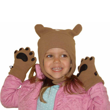 Infant & Toddler Camel Fleece Chinstrap Hat & Mittens