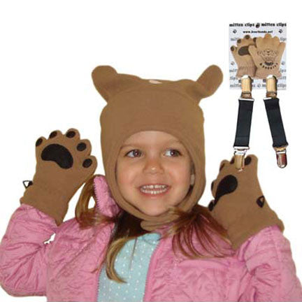 Infant & Toddler Camel Fleece Chinstrap Hat, Mittens & Mitten Clips