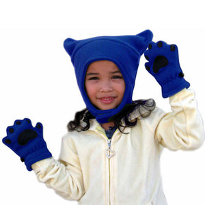 Infant & Toddler Cobalt Blue Fleece Chinstrap Hat & Mittens