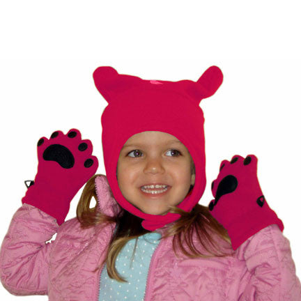 Infant & Toddler Fuchsia Fleece Chinstrap Hat & Mittens