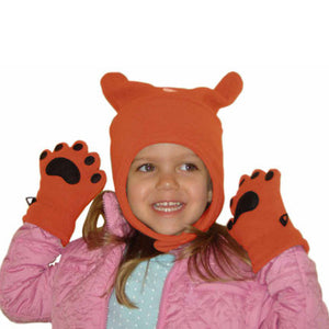 Infant & Toddler Orange Fleece Chinstrap Hat & Mittens