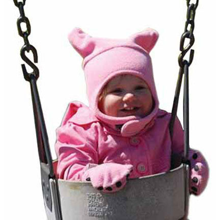 Infant & Toddler Pink Fleece Chinstrap Hat & Mittens