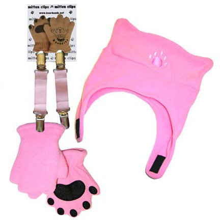 Infant & Toddler Pink Fleece Chinstrap Hat, Mittens & Mitten Clips