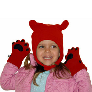 Infant & Todder Red Fleece Chinstrap Hat & Mittens