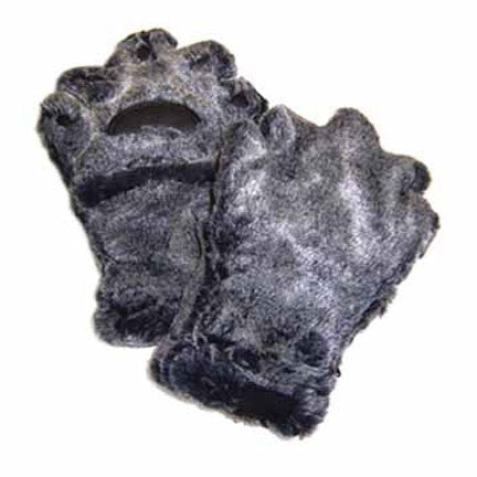 Youth Grey/Black Faux Fur Mittens