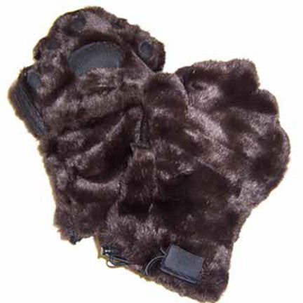 Kids Brown Faux Fur Mittens