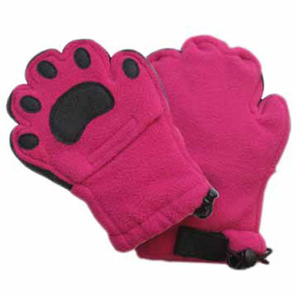 Kids Fuchsia Fleece Mittens
