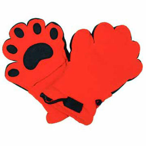 Kids Orange Fleece Mittens