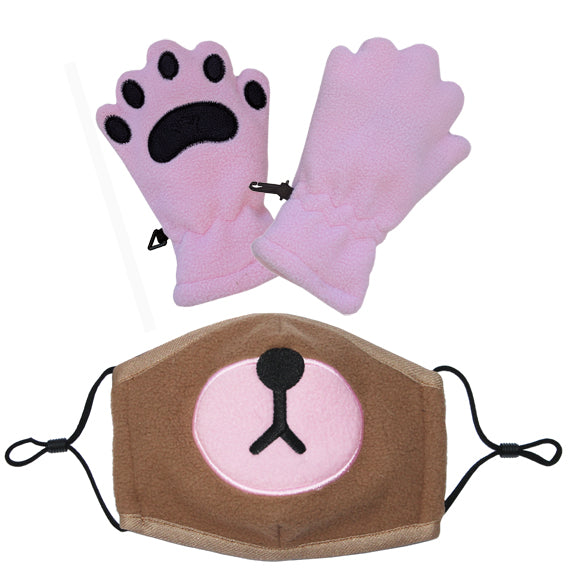 Bear Mask & Toddler Light Pink mittens