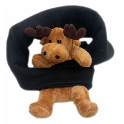 Moose on Black Fleece Buddy Scarf