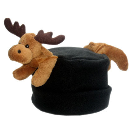 Moose on Black Fleece Buddy Hat