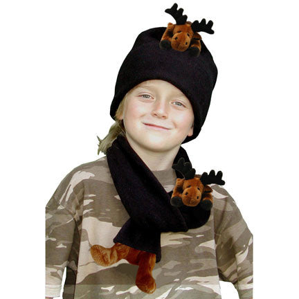 Moose on Black Fleece Buddy Hat & Scarf