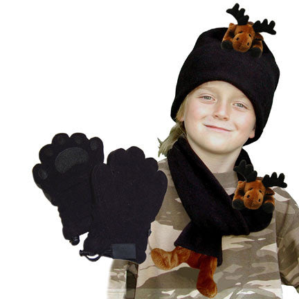 Moose on Black Fleece Buddy Hat, Scarf & Mittens