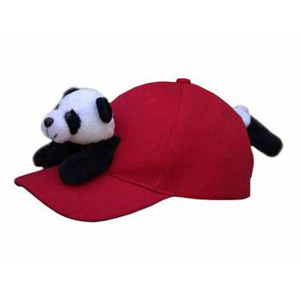 Panda on Red Baseball Cap