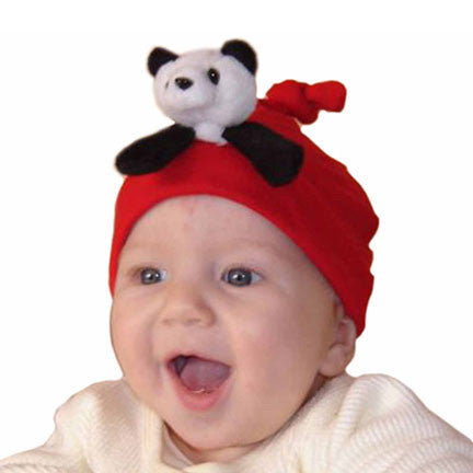 Panda on Red Infant Hat
