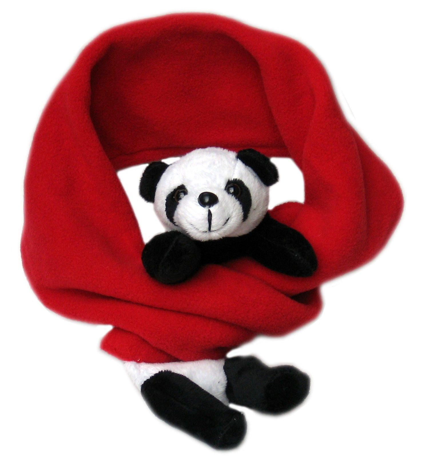 Panda on Red Fleece Buddy Scarf