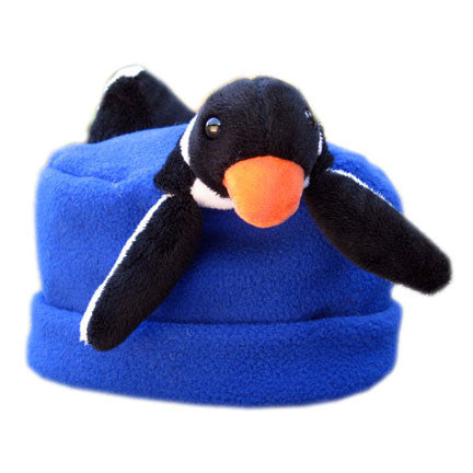 Penguin on Cobalt Blue Fleece Buddy Hat