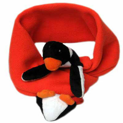 Penguin on Orange Fleece Buddy Scarf