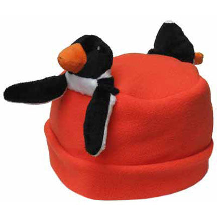 Penguin on Orange Fleece Buddy Hat