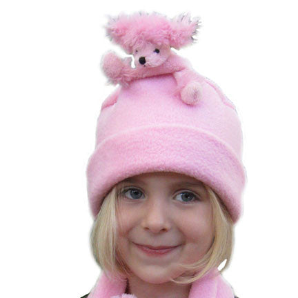 Pink Poodle on Pink Fleece Buddy Hat