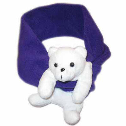 Polar Bear on Dark Purple Fleece Buddy Scarf