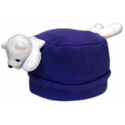 Polar Bear on Dark Purple Fleece Buddy Hat
