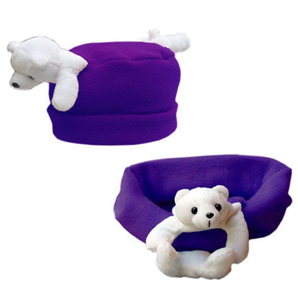 Polar Bear on Dark Purple Fleece Buddy Hat & Scarf