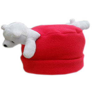 Polar Bear on Red Fleece Buddy Hat