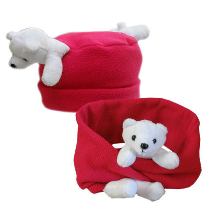 Polar Bear on Red Fleece Buddy Hat & Scarf